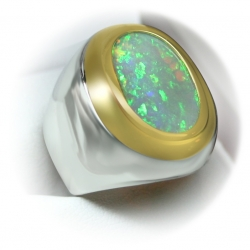 stylish men's pinfire 7.06 carat opal ring in 22k yellow gold/sterling silver