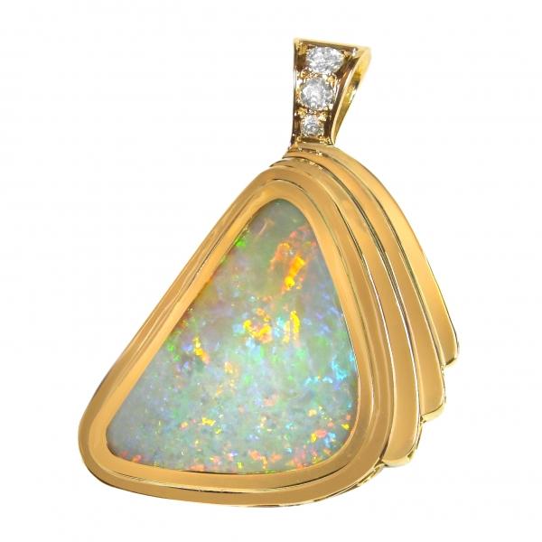Australian Solid 8.05 Carat Opal Pendant set in 18K Gold with Diamonds