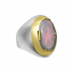 men's australian solid 6 carat opal set in sterling silver and 18k yellow gold