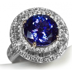 exquisite ladies 18k w/gold 7ct tanzanite & diamond ring