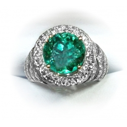 fit for a queen 4.03ct colombian emerald & diamond ring in 18k white gold