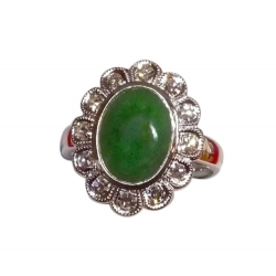 fab burma natural jadeite ring in 18k white gold with diamonds