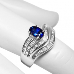 stunning blue 1.68tcw sapphire and diamond + 18k white gold ring