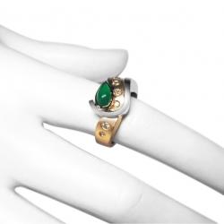 estate .6ct chrysoprase  diamond + 18k  ring -unique item