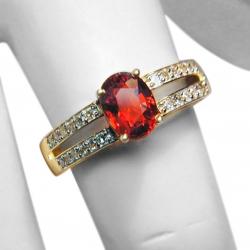 ladies new designer 1.5ct orange sapphire, diamond + 14k ring - valued at $2120