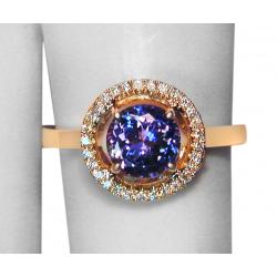 ladies 1.54tcw purple tanzanite, diamond +14k gold  ring