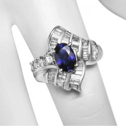 designer ladies blue 1.3ct sapphire + 1ct diamond 18k gold ring-valued at $2900