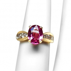 estate 2.14ct pink sapphire, diamond + 18k ring-fantastic color- valued at $6900