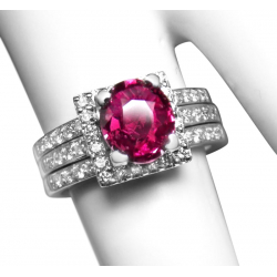 fine vintage 1.76ct pink sapphire, 14k + .75ct diamonds ring -valued at $5000