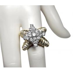 1960's spectacular designer diamond + 18k ring- 2.2 ct diamonds- valued at $7500