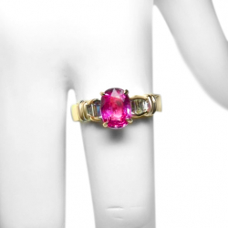 estate ceylon 2ct pink sapphire .45 ct diamonds and 14k ring- valued at $6500