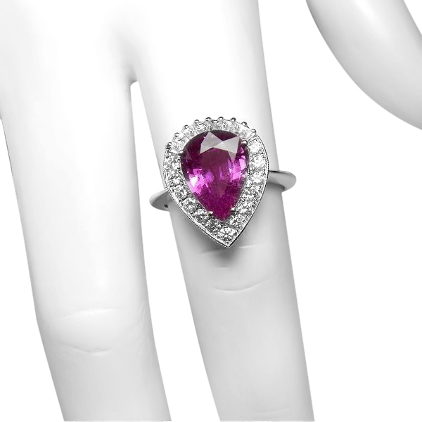 FIT FOR A QUEEN 3.8 ct PINK SAPPHIRE, DIAMOND AND 18K RING- APPRAISED AT $11,800