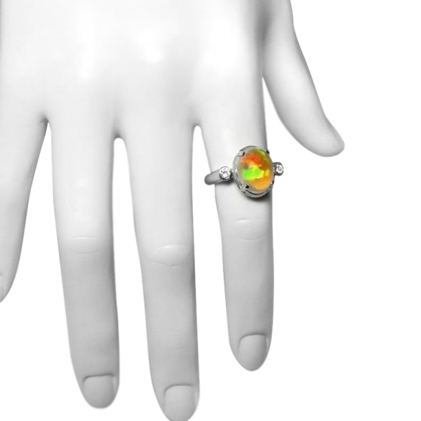 NEW LADIES 3.35 ct SOLID OPAL + DIAMOND RING- 18K W/GOLD, BEAUTIFUL BRIGHT COLOR