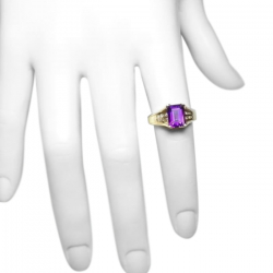 estate 1.6 ct amethyst + diamond and 14k ring - great color - elegant setting