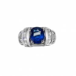 3.65 ct unheated blue sapphire + 2.5 ct vvs diamonds + 14k ring-valued at $13500