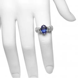 estate 2 ct tanzanite and .45 ct diamond + 14k ladies ring - unique design
