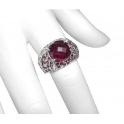 designer pink tourmaline and diamond 14k ring - great look - 4.3 ct tgw