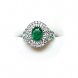 magnificent natural 1.7ct emerald and 1ct diamond 18k ring - valued at $6000