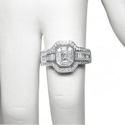new art deco style 1.25 ct diamond 18k ring, vvs, f-g color, valued at $6500