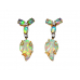 vintage carved opal + diamond earrings - 5 carats solid opal - 14k gold