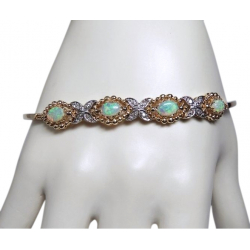 stunning antique 2ct opal and diamond bracelet- 14k -, 6.5/8.5 inches adjustable