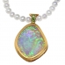 19 CT OPAL AND TSAVORITE PENDANT- 18K WITH PEARLS - VALUED AT $10500