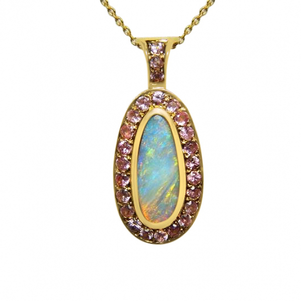 MAGNIFICENT 1.75Ct OPAL AND .75Ct PINK SAPPHIRE PENDANT- 18K - VALUED AT $5600