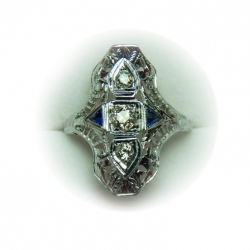 1930's art deco .5 ct diamond .32 blue sapphire 18k ring -valued at $6000