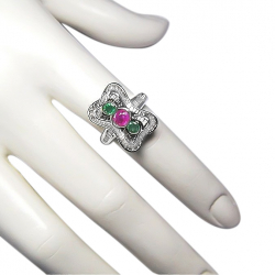 new ladies 1.15 ct diamond .6 ct pink sapphire and .4 ct  emerald + 18k ring