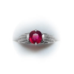 vintage  1.61ct natural unheated ruby and diamond 18k ring - magnificent color