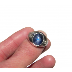 1960's men's natural blue star sapphire, diamond + 14k ring