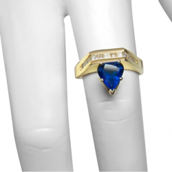 1.56 carat unheated blue sapphire ring 18k .56ct vs diamonds valued at $9800