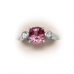 natural burma pink spinel (untreated) +diamond ring- 3.31 ct 18k-valued at $7600