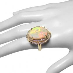 7.5ct natural australian opal + 2.8ct diamond ring - 14k gold- valued at $10400