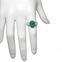 natural 1.9ct emerald + .65 ct vs diamonds + 14k ring