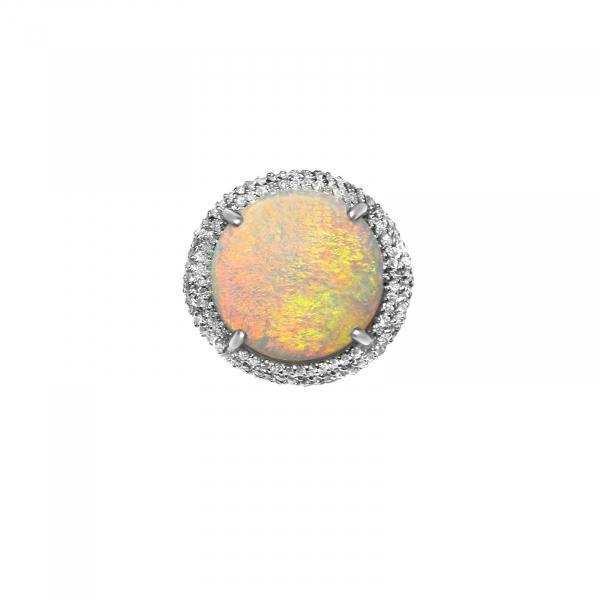 6.38CT LADIES NATURAL AUSTRALIAN OPAL + .75CT DIAMOND RING -14K- VALUED AT $6599