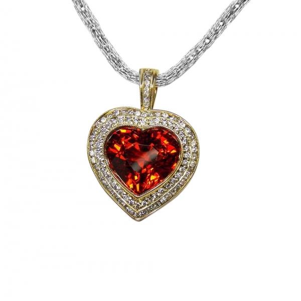 7.5 CT SPESSARTITE GARNET + 1CT DIAMOND PENDANT IN 14K GOLD - VALUED AT $6200
