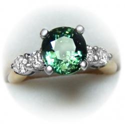 stunning 3.38ct natural unheated green sapphire, diamond 14k ring - rare item