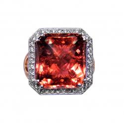 magnificent 15.5ct pink-orange tourmaline + diamond 14k ring -gia cert- a work of art