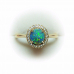 NEW LADIES .97ct AUSTRALIAN BLACK OPAL AND DIAMOND 18K RING - HIGHEST QUALITY
