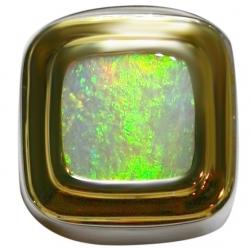 men's 3.80 carat australian opal ring set in sterling silver & 22k yellow gold