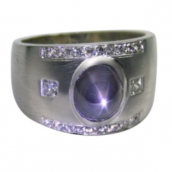 men's 14k white gold ring with a natural star sapphire accented by diamonds