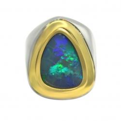 men's solid australian 5.05 carat opal ring in sterling silver & 18k yellow gold
