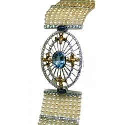 ladies 18k gold bracelet with aquamarine, sapphires, diamonds, cultured pearls