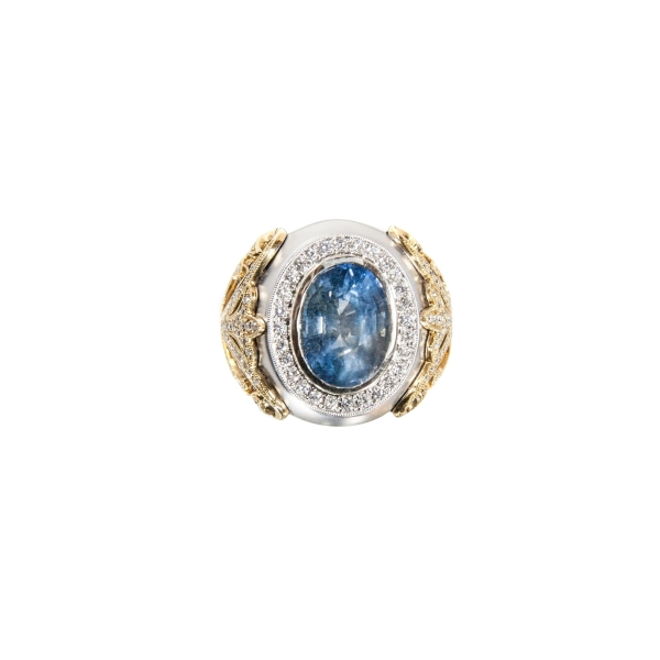 11.94 ct Unheated Color Change Sapphire, Diamond and 18K Ring