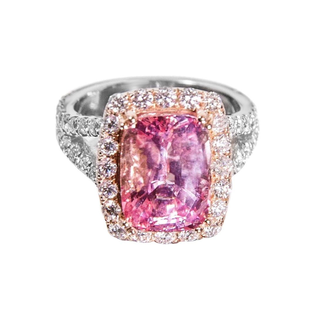 7.02 ct Unheated Padparadscha Sapphire, Diamond and Platinum Rose ...